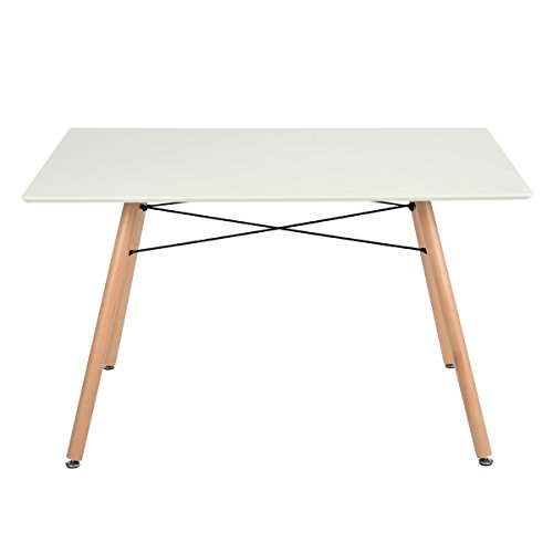 Table manger scandinave table de cuisine carree blanc mat 120cm bois r tro for Table carree 120 cm