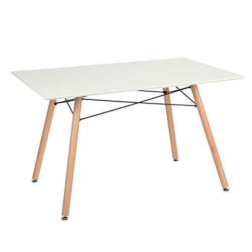 Table manger scandinave table de cuisine carree blanc mat 120cm bois r tro - Table a manger cuisine ...