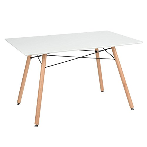 Table manger scandinave table de cuisine carree blanc mat 120cm bois r tro - Table carree scandinave ...