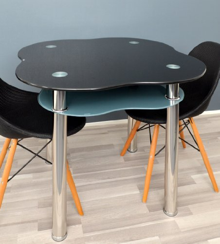Table de verre table manger table manger noir et gris - Table de cuisine grise ...