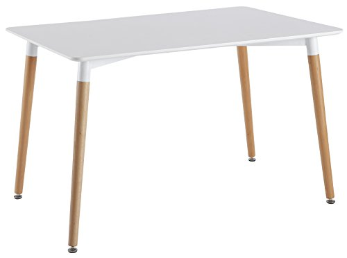 Table rectangulaire design scandinave coloris blanc et for Table bois blanc