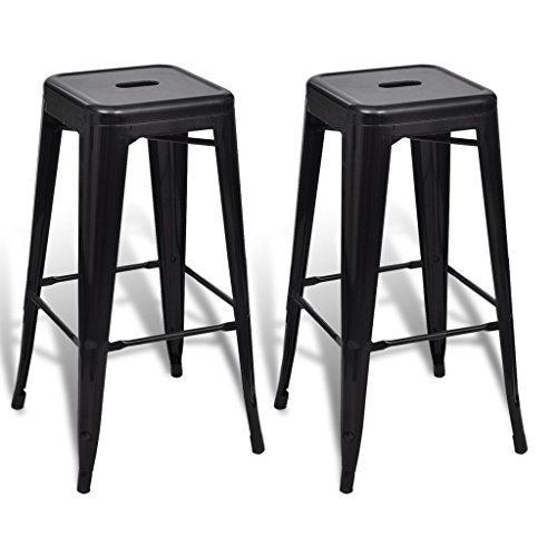 Tabouret de bar manhattan lot de 2 noir - Tabouret de bar lot de 2 ...