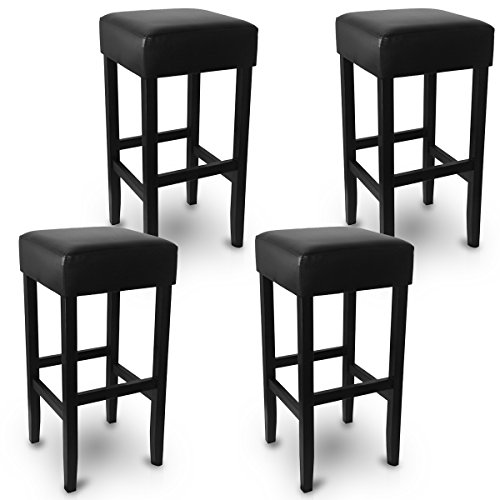 woltu lot de 4 tabourets de bar avec pieds en bois massif si ge en simili cuir noir bh22sz 4. Black Bedroom Furniture Sets. Home Design Ideas