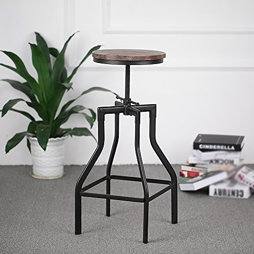 ikayaa tabouret de bar pivotant r glable en hauteur ikayaa style industriel chaise manger en. Black Bedroom Furniture Sets. Home Design Ideas