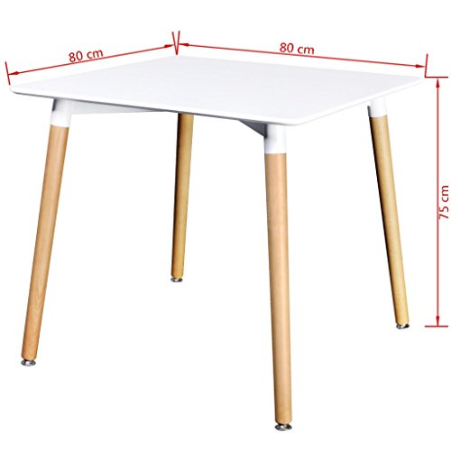 Vidaxl table de salle manger carr e blanc mat for Table de salle a manger carre