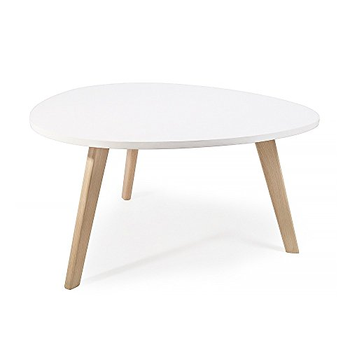 Alta table basse scandinave aspect galet pieds en bois blanc for Table scandinave blanc
