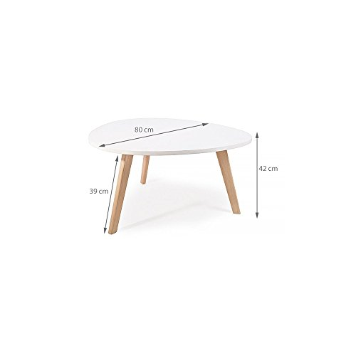 Alta table basse scandinave aspect galet pieds en bois blanc for 2 table basse scandinave