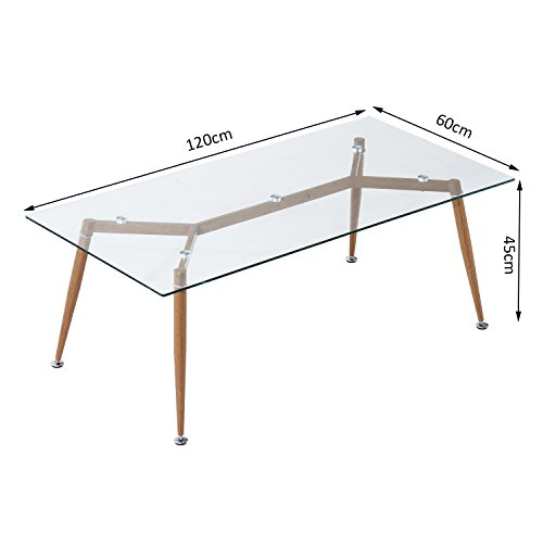 Homcom table basse de salon avec plaque en verre tremp pieds en fer 120 x 60 x 45cm for Plaque verre table