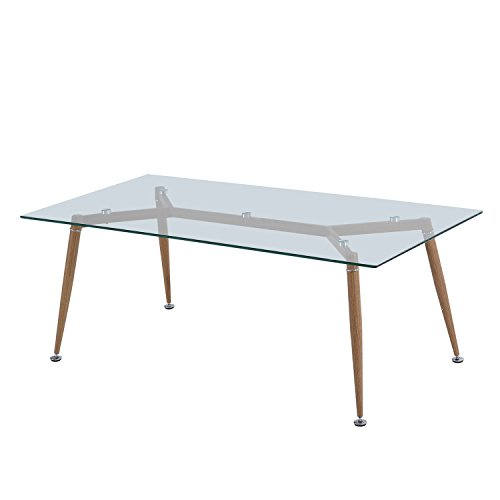 Homcom table basse de salon avec plaque en verre tremp pieds en fer 120 x 60 - Table salon verre trempe ...