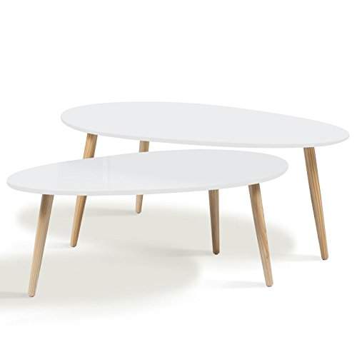 Idmarket lot de 2 tables basses gigognes laqu es blanc for Table scandinave blanc