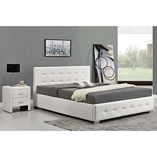 l 39 azenor structure de lit blanc avec coffre de rangement. Black Bedroom Furniture Sets. Home Design Ideas