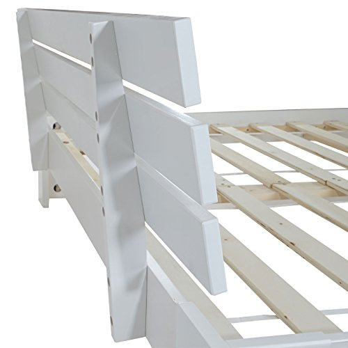 Lit perth grand lit bois massif sommier lattes inclus rack en pin 160 - Lit bois massif blanc ...