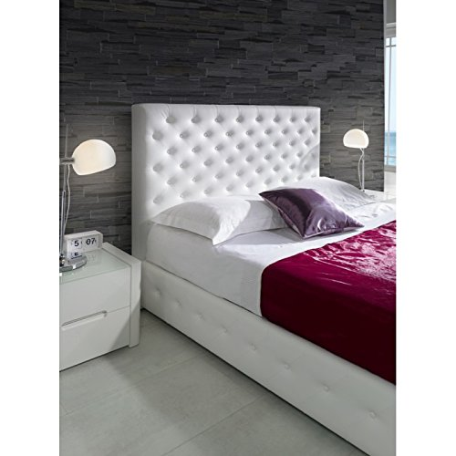 lit coffre liska 180x200cm en simili cuir blanc l 200 x l 180 x h 118. Black Bedroom Furniture Sets. Home Design Ideas