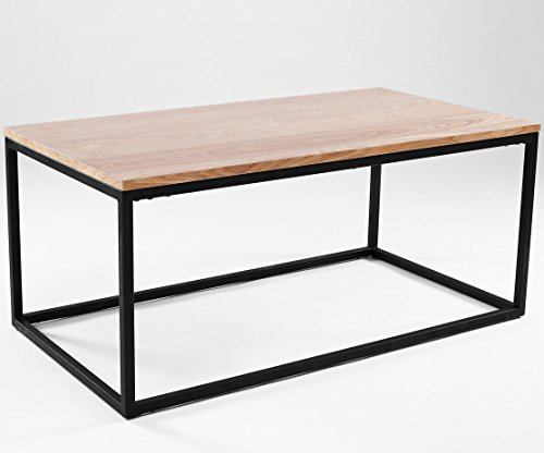 Table basse design industriel newark 100 cm x 55 cm ch ne for Table basse design 100 x 100