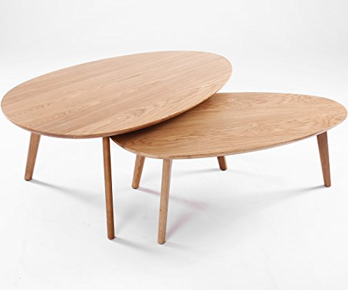 Table basse gigogne design scandinave visby ch ne lot de for Table basse scandinave en chene