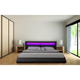 lit design bleu avec sommier 160 x 200 cm sunrise. Black Bedroom Furniture Sets. Home Design Ideas