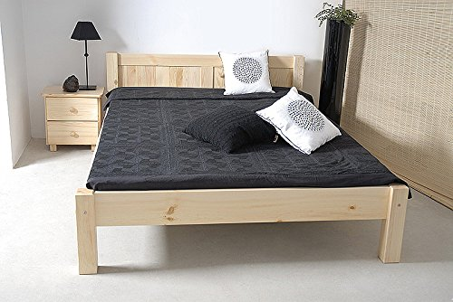 lit simple bois du pin massif naturel a1 incl sommier lattes dimensions 140 x 200 cm. Black Bedroom Furniture Sets. Home Design Ideas