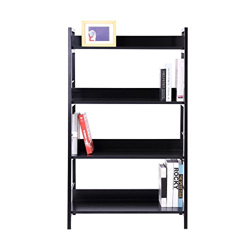 biblioth que meuble armoire de rangement 4 tag res aux livres noir neuf 12. Black Bedroom Furniture Sets. Home Design Ideas