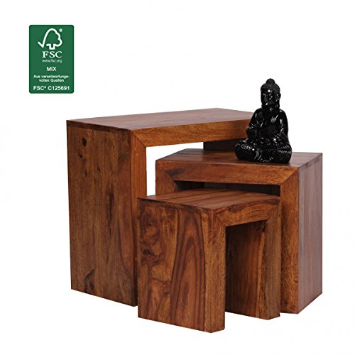 finebuy ensemble de 3 tables gigognes en bois sheesham salon table d 39 appoint de style campagnard. Black Bedroom Furniture Sets. Home Design Ideas