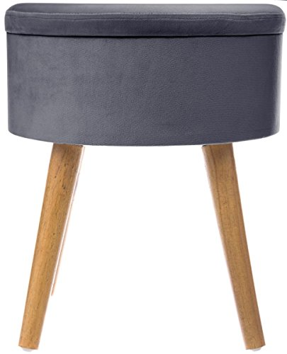 grand tabouret pouf coffre de rangement rond style scandinave coloris gris fonc aspect velours. Black Bedroom Furniture Sets. Home Design Ideas