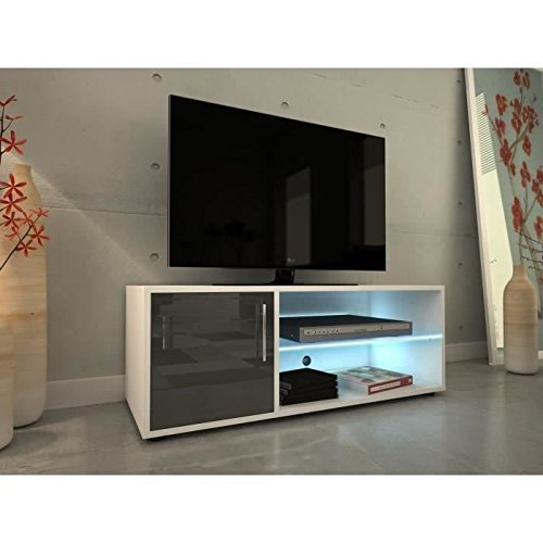 kora meuble tv 100 cm avec clairage led laqu gris. Black Bedroom Furniture Sets. Home Design Ideas