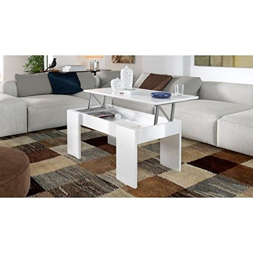 swing table basse transformable 100 cm blanc brillant