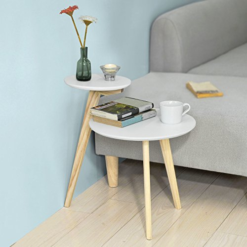Sobuy fbt53 wn table basse design table d 39 appoint ronde for Table 3 pieds