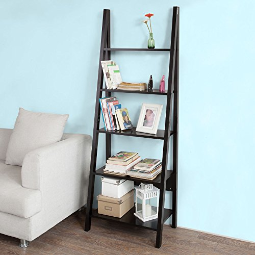 sobuy frg61 sch biblioth que tag re style chelle 5. Black Bedroom Furniture Sets. Home Design Ideas