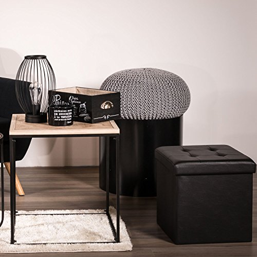 the home deco factory hd3400 coffre pouf pliable noir With the home deco factory hd3400 coffre pouf pliable noir 2