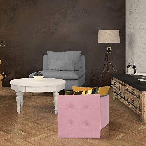 the home deco factory hd3421 coffre pouf pliable polyester rose 37 50 x 37 50 cm. Black Bedroom Furniture Sets. Home Design Ideas