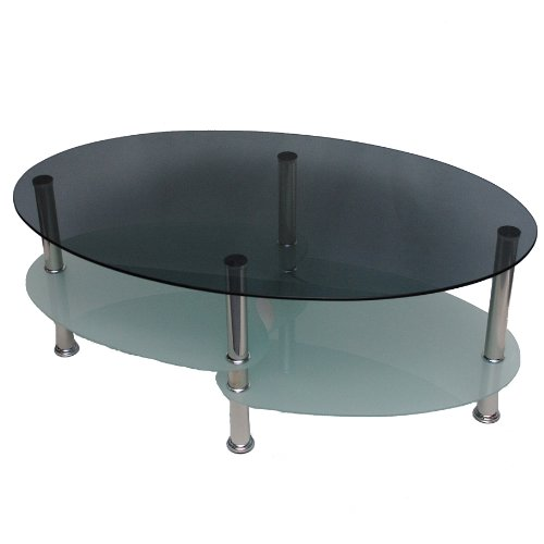table basse table de salon ovale 8mm verre de s curit tremp et fum. Black Bedroom Furniture Sets. Home Design Ideas