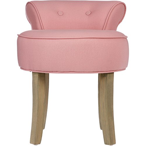 tabouret pouf avec dossier lin et coton coloris rose poudr. Black Bedroom Furniture Sets. Home Design Ideas