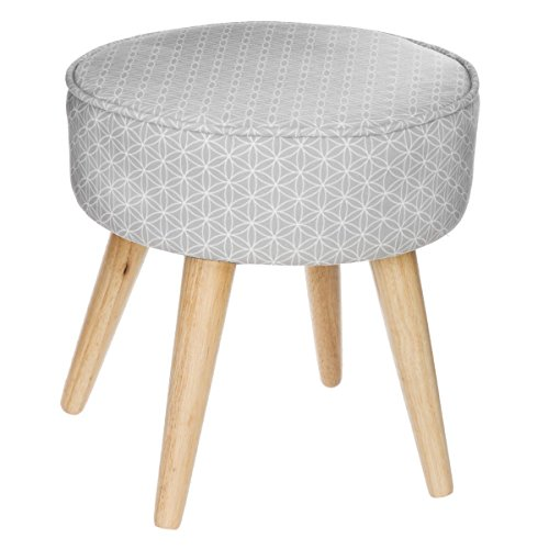 tabouret pouf rond esprit scandinave coloris gris taupe et blanc. Black Bedroom Furniture Sets. Home Design Ideas