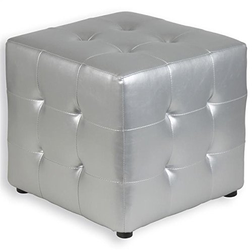 tabouret pouf cubique diana simili cuir argent. Black Bedroom Furniture Sets. Home Design Ideas