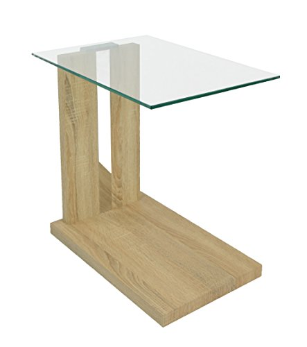 Ts ideen design table d 39 appoint verre robuste salon table - Table de chevet verre ...