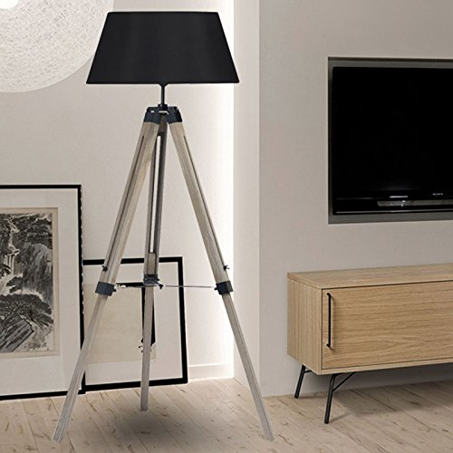 idmarket lampadaire trepied bois r glable noir. Black Bedroom Furniture Sets. Home Design Ideas