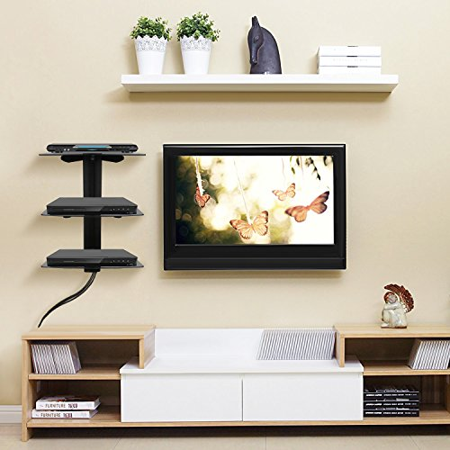 amzdeal meuble mural dvd avec trois tag re en verre. Black Bedroom Furniture Sets. Home Design Ideas