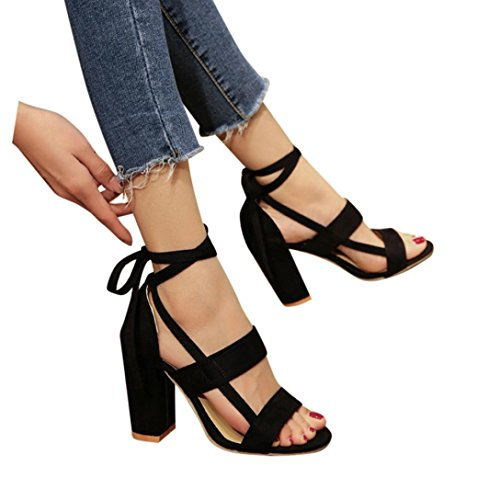 f8ade20bc04605 OverDose Sandales Pointure Large à Talons Carrés,OveDose Femme Chaussures  Cheville Sexy High Heels