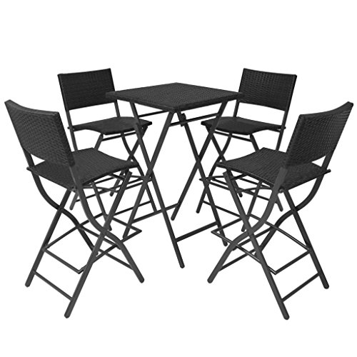 table avec 4 chaises pliantes de jardin noir. Black Bedroom Furniture Sets. Home Design Ideas