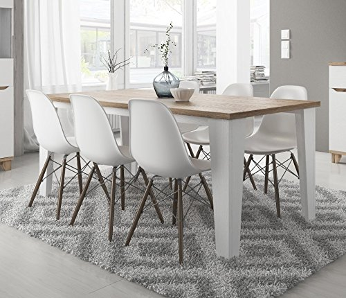 table de salle manger scandinave lier en bois 180 cm blanc avec pied bois. Black Bedroom Furniture Sets. Home Design Ideas