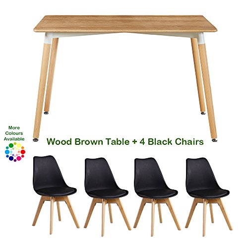 Table et 4 chaises p n homewares mod le lorenzo style scandinave r tro et moderne table for Modele table a manger en bois