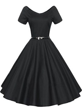 LUOUSE-40s-50s-60s-Vintage-V-Neck-Swing-Rockabilly-Pinup-Ball-Gown-Party-Dress-0