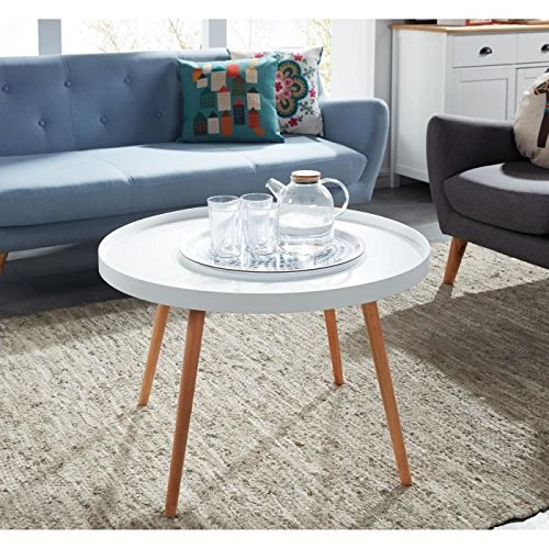 Table Basse Ronde Scandinave.Constance Table Basse Ronde Scandinave Laque Blanc Satine 74 74 Cm