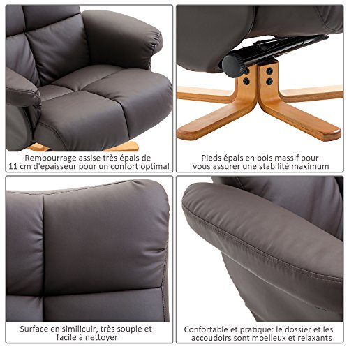 8a50862ab228c1 ... Homcom-Fauteuil-Relax-inclinable-Style-Contemporain-Repose-Pieds-