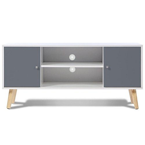 idmarket meuble tv effie scandinave bois blanc et gris. Black Bedroom Furniture Sets. Home Design Ideas