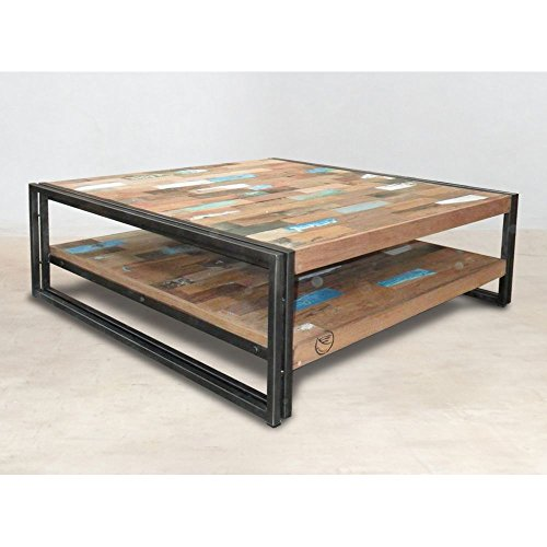 Pierimport Table Basse Carree Bois Recycle Double Plateaux 100 100