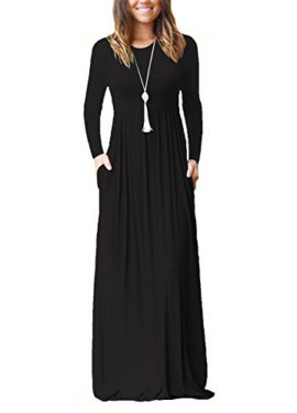Dasbayla-Robes-Longues-Femmes-t-Robe-Manches-Courtes-Casual-avec-Poches-0