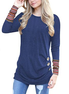 Hownew-X-T-Shirt-Femme-Manches-Courtes-Lche-Tunique-Blouse-Casual-Tops-Boutons-0