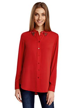 oodji-Collection-Femme-Chemisier-Droit-Col-Dcor-0