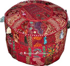 Indian-Round-Patch-Work-Embroidered-Ottoman-Pouf-Indian-Round-Ottoman-Stool-Pouf-Pillow-Patterned-Cocktail-Vintage-Hassock-Pouffe-Cotton-Handmade-Ottoman-Pouf-18x13-Inch-By-Bhagyoday-by-BhagyodayFashi-0